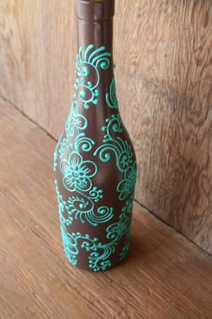 Hand Painted Wine bottle Vase, Up Cycled, Chocolate Brown and Mint Green, Bold Floral Henna style design Wine Bottle Vases, Painted Wine Bottles, Diy Bottle, Wine Bottle Crafts, Jar Crafts, Champagne Bottles, Glass Bottles, Wine Glass, Henna Style