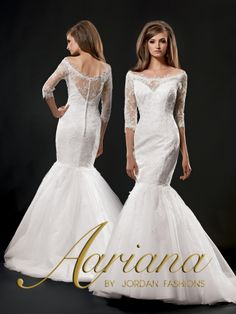 Aariana Style #: 9495 Shown in Diamond White…Lace mermaid gown with portrait neckline and 3/4 lace sleeves. Buttons and loops over zipper. Full tulle skirt with chapel train. Available in sizes 0-34.