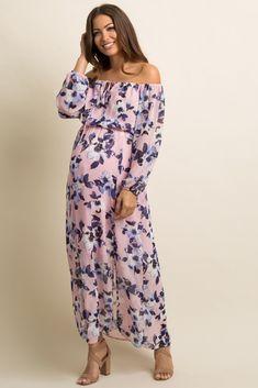 Mauve Floral Chiffon Off Shoulder Maternity Maxi Dress Maternity Maxi, Pink Blush Maternity, Long Sleeve Maxi, Maxi Dress With Sleeves, Mauve, Blush Pink, Floral Chiffon, Boho Chic, Floral Prints