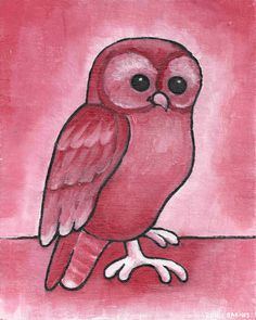 Red Owl Original Painting on 8x10 Canvas Board Benefiting IRF