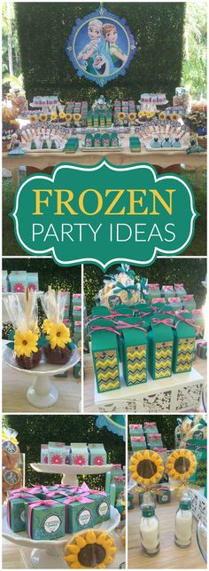 a fun Frozen Fever party with lots of sunflowers! See more party ideas at ! Frozen Theme Party, Frozen Birthday Party, Birthday Parties, 4th Birthday, Birthday Ideas, Ana Frozen, Disney Frozen, Festa Frozen Fever, Frozen Summer