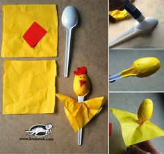 Simple dolls from spoonsCooking spoons for incredible plastic spoon craft projects for funplastové lžíce-řemesla-projekty-pro-zábavaHome Plastic Spoon Crafts, Wooden Spoon Crafts, Plastic Spoons, Wooden Spoons, Easter Crafts, Diy And Crafts, Craft Projects, Crafts For Kids, Craft Ideas