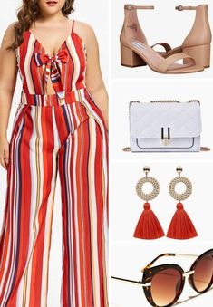 A plus size summer outfit inspiration. A plus size spring outfit inspiration. A plus size red stripped halter top jumpsuit outfit. Featured items by spring summer springoutfit summeroutfit ootd outfit jumper 722194490226493864 Plus Size Maxi Dresses, Plus Size Outfits, Holiday Outfits, Summer Outfits, Blue Jean Dress, Plus Size Summer Outfit, Jumpsuit Outfit, Plus Size Fashion For Women, Curvy Outfits