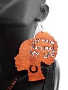 New to TheBlackerTheBerry on Etsy: Natural Hair Earrings Wood Jewelry Afrocentric Earrings African American Jewelry Statement Afro earrings handmade jewelry large earrings