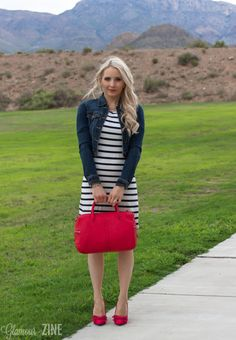 Summer outfit :: Striped dress and denim jacket with red heels and satchel