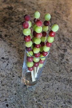 Grape-cicles. . . . aka frozen grapes. I do this all the time as a snack.  I just don't bother to put them on a skewer for guests to make it fancy. I should for a BBQ or kid treat.