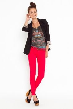 Primary Skinny Jeans - Red - NASTY GAL - StyleSays