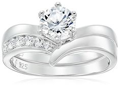 Platinum Plated Sterling Silver Cubic Zirconia Round Solitaire Ring with Chevron Band Ring Set -- You can get more details by clicking on the image.