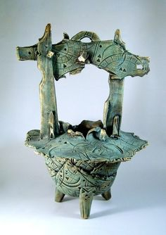 """FUTURE ANCIENT VESSEL 2hand-built slab pottery, acrylic on stoneware clay20"""" tall (view 1)     SOLD"""