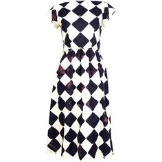 Pre-owned COMME DES GARCONS bleached diamond printed cotton dress ($450) ❤ liked on Polyvore featuring dresses, casual dresses, day dresses, white sleeve dress, white cotton dress, white zip up dress, preowned dresses and zip up dress