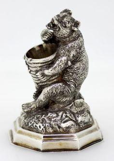 19th Century German Silver Bear Match Holder