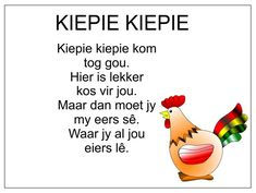 Afrikaans Is Maklik Rhyming Poems For Kids, Preschool Poems, Rhyming Activities, Kids Learning Activities, Grade R Worksheets, Free Printable Alphabet Worksheets, Afrikaans Language, Nursery Rhymes Lyrics, Afrikaanse Quotes