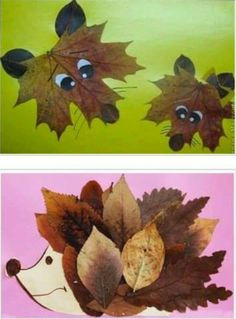 Collages of dried leaves creative ideas for the .- Collagen aus getrockneten Blättern kreative Ideen zum Selbermachen Collages of dried leaves creative ideas to make your own - Kids Crafts, Leaf Crafts, Fall Crafts For Kids, Toddler Crafts, Preschool Crafts, Projects For Kids, Art For Kids, Craft Projects, Arts And Crafts