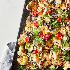 Swapping in tender-crisp cauliflower slices for chips in these cauliflower nachos ups your veggie servings for the day. Healthy Food Choices, Healthy Meal Prep, Healthy Foods To Eat, Healthy Eating, Cooking Chicken To Shred, How To Cook Chicken, Chicken Nachos, Healthy Pumpkin, Healthy Chicken Recipes