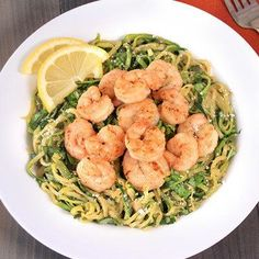 Healthy Hungry Girl Protein-Packed Recipes: Zucchini Spaghetti with Shrimp
