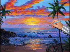 cómo pintar una playa tropical y las islas utilizando acrílico sobre lienzo - YouTube