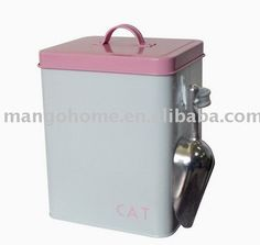 Cat food container and scoop.