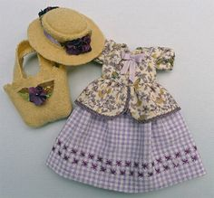 This outfit for 6 Hitty dolls is one in a series I call Country Gingham. The dress is all cotton, lined, & hand-embroidered with needle lace & silk ribbons. It snaps in the back & is tagged with the green Islecroft label. The hat is woven wool felt as is the bag which is lined. All items are made by hand by me at Islecroft. They are made from quality materials & will last a lifetime or more. My Lotz Hitty is not for sale, she is just modeling.