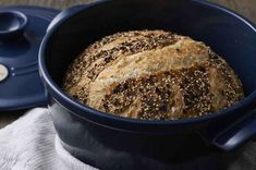 A Baker added cup of sour dough starter to water. Chewy artisan bread is topped with a tasty mixture of dried onion, salt, and seeds. Everything Bread Recipe, Everything Bagel, No Knead Bread, Sourdough Bread, Yeast Bread, Flour Recipes, Bread Recipes, Oven Recipes, Chewy Bread Recipe