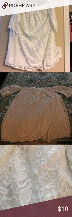 Strapless with attached sleeves white lace mini White lace strapless mini dress. Never worn. leith Dresses Strapless