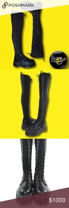 """Dr. Martens x Agyness Deyn AGGY Over Knee Boots RARE Dr. Martens x Agyness Deyn AGGY TALL 25 Eye Over Knee Boots      Rare over the knee combat style boots by Dr. Martens.  Sky high style!    Napa Leather and Lycra Upper   Classic Dr. Marten soles   25 Lace Eyelets.    2"""" Heel Height.    1 1/2"""" Stetson Height.    25 1/2"""" Shaft Height.    Sz 7.  Bottom of soles measure approx. 10 7/8"""" long and 4 1/8"""" wide at widest part.    New with box.  Minor wrinkling from storage.  Please see all photos…"""