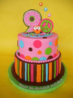Brown & Pastels Stripes and Dots Hippie Owl Cake (Alexandra)