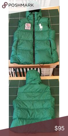 Polo Ralph Lauren Big Pony USA Puffer Vest Polo Ralph Lauren Big Pony USA patch green hooded nylon puffer vest size Mens Small . Down vest. In great condition. Polo by Ralph Lauren Jackets & Coats Puffers