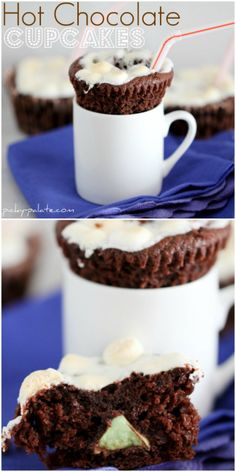 Hot Chocolate Cupcakes with Mint Kissed Centers!