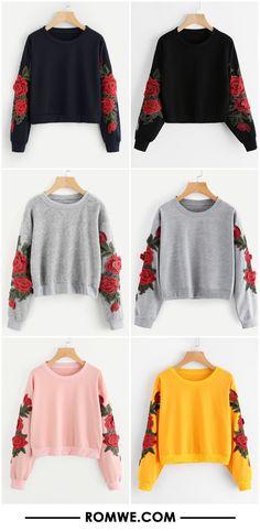 Rose Embroidered Applique Sweatshirt