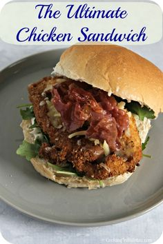 The Ultimate Chicken Sandwich - frankly, this is the best chicken sandwich I have ever made - it's that good! Crispy chicken cutlets with crisp prosciutto, melted cheese and a fresh peppery bite - now how bad can that be?  | Cooking In Stilettos  http://cookinginstilettos.com/ultimate-chicken-sandwich/  #Chicken #Sandwich