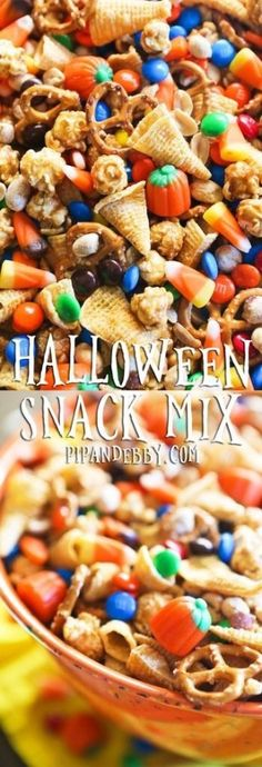 This is the perfect snack mix for your next Halloween or Fall party! Hallowen Food , This is the perfect snack mix for your next Halloween or Fall party! This is the perfect snack mix for your next Halloween or Fall part. Halloween Desserts, Halloween Snack Mix Recipe, Halloween Fingerfood, Hallowen Food, Halloween Goodies, Halloween Food For Party, Halloween Treats, Halloween Halloween, Halloween Baking