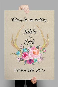 Printable Boho floral deer antler fresh flowers wedding sign customized poster…