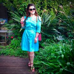A Pretty Turquoise Dress… 🦋🙌😻 – Donna Does Dresses Fashion Wear, Retro Fashion, Spring Fashion, Long Curly Hair, Curly Hair Styles, Mustard Pants, Turquoise Dress, Pin Up Style, Simple Dresses