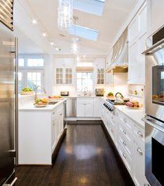 white kitchen dark floors - Google Search
