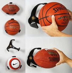 Unique Gifts for Men That They Won't Have to Pretend to Like These nifty organizers ensure that you'll never trip over a football in your garage again. Plus, they're great for displaying precious memorabilia in his man cave. Football Man Cave, Football Rooms, Sports Man Cave, Basketball Man Cave, Soccer Locker, Basketball Signs, Basketball Tattoos, Basketball Hoop, Football Soccer