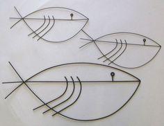 Vtg Mid Century Modernist Abstract Metal Fish Wall Art Sculpture Eames Jere Era