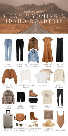Capsule Outfits, Fashion Capsule, Capsule Wardrobe, Fashion Outfits, Travel Wardrobe, Road Trip Outfit, Denim Jacket With Dress, Shirts For Leggings, Summer Outfits