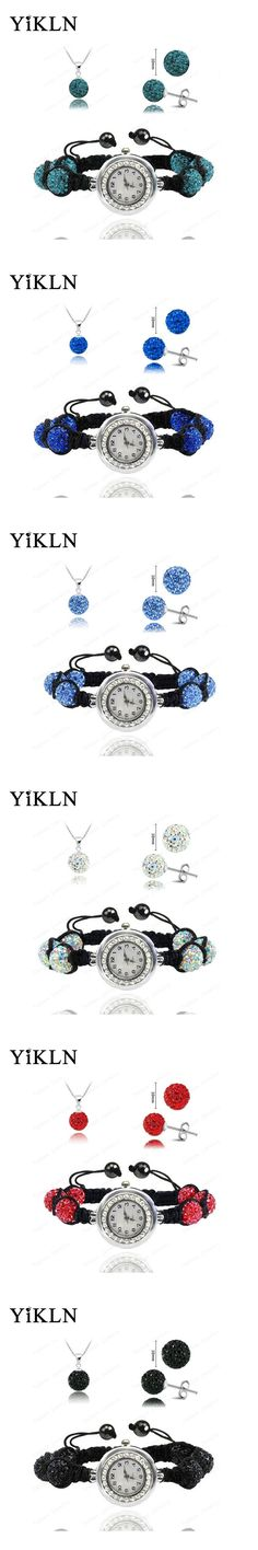 Wholesale Fashion Watch Crystal Shamballa Set Crystal Necklace+Bracelet+Crystal Earring Jewelry Set 10MM Disco Ball Watch SHSE11