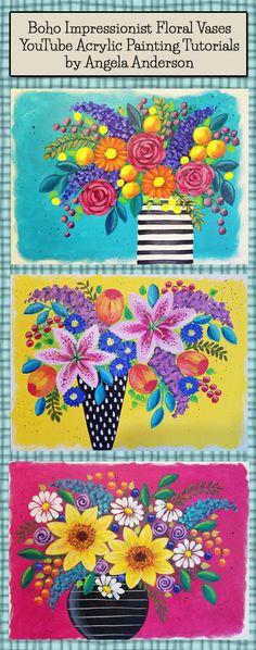 Angela Anderson Art Blog: Bohemian Flower Vases Acrylic Painting Tutorial