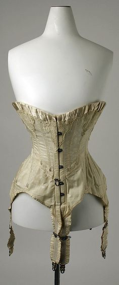 """Corset  Date: ca. 1908 Culture: French   [label] """"7.50, Made in France, Véritable Baleine, Brévété S.G.D.G., Best Whalebone THE PARIS, Made in France, expressly or C.F. Hovey and Co., Boston."""" [stamped on bone lining of corset]; """"Corset de Paris"""" [paper label]."""