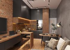Kitchen Room Design, Home Room Design, Modern Kitchen Design, Living Room Kitchen, Home Decor Kitchen, Interior Design Kitchen, Kitchen Furniture, New Kitchen, Home Kitchens