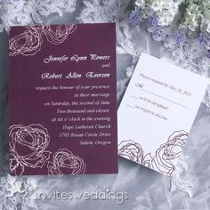 Stunning Purple And White Wedding Invitations IWI017