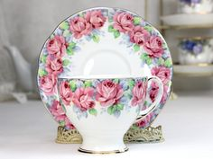 Royal Standard Teacup, Tea Cup and Saucer, Rose of Sharon, Fluffy Pink Roses, Fine Bone China 12403