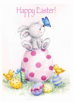 Happy Easter, Rabbit and chicks with Painted Eggs card. Personalize any greeting card for no additional cost! Cards are shipped the Next Business Day. Happy Easter Wishes, Happy Easter Greetings, Easter Art, Easter Crafts, Easter Bunny, Ostern Wallpaper, Easter Drawings, Easter Paintings, Egg Card