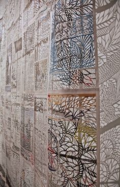 Cut lace newspapers (Cahier du week-end) installation by Canadian artist Myriam Dion http://www.myriamdion.com/#!journaux/aboutPage #paper_art #paper_cutting