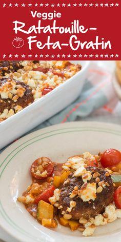 Dieses Veggie Ratatouille-Feta-Gratin wird bestimmt auch die Fleischesser unter deinen Gästen begeistern. Viel frisches Gemüse, würziger Fetakäse und vegetarische Klößchen machen das Gericht zum geschmacklichen Highlight.