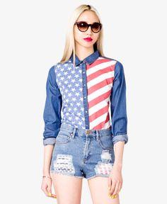 American Flag Denim Shirt