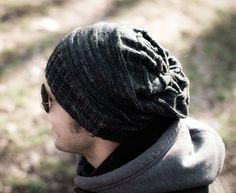 Man Slouch Knit Hat Pattern: learn how to knit a hat for the man in your life with this free pattern.
