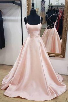 Pink Satin Backless Long Simple Prom Dress, Pink Evening Dress A-Line Elegant Gold Long Women Formal Prom Dresses,Evening Gowns Simple Prom Dress, Cute Prom Dresses, Prom Outfits, Dance Dresses, Pretty Dresses, Sexy Dresses, Beautiful Dresses, Bridesmaid Dresses, Pink Dresses