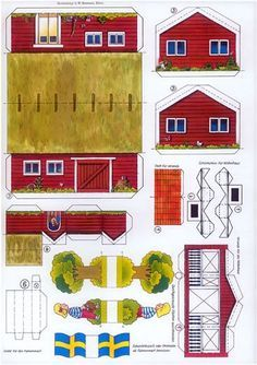 Free Printable Little Red Swedish Cottage (Stuga) - Shared Hosting - Free Printable Little Red Swedish Cottage (Stuga) Origami, 3d Templates, House Template, Printable Paper, Free Printable, Glitter Houses, Putz Houses, Paper Houses, Paper Models